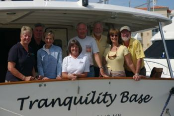 The Krogen Couples join Captains Chris & Alyse on the back deck of Tranquility Base. Nice day of training on the water.